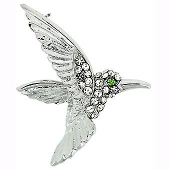 Broches winkel Shiny Silver en Crystal Hummingbird broche