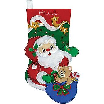 Starlight Santa Stocking Felt Applique Kit-18
