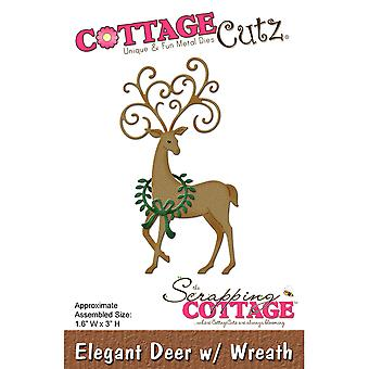 CottageCutz Die-Deer W/Wreath, 1.6