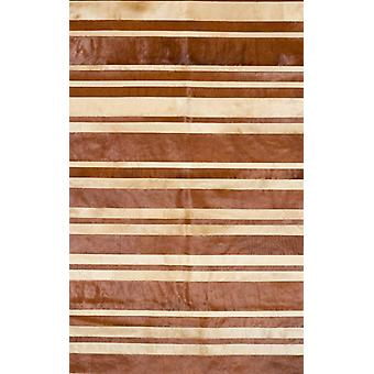 Rugs -Patchwork Leather Cowhide - ST9-10 Brown & Beige Stripes