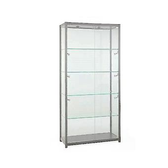 Silver Glass Display Cabinet with 8 Lights - 1000mm