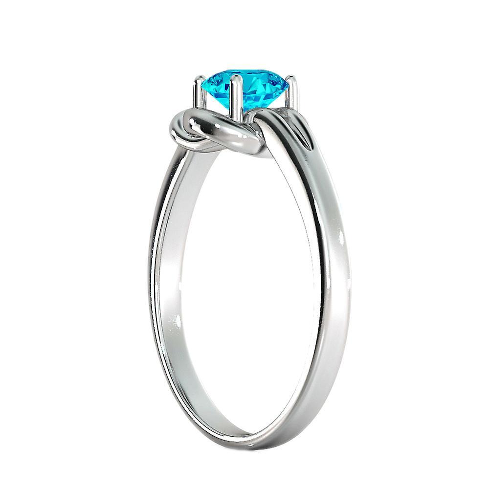 0,50 CT blauer Topas Ring 14K Weissgold Knoten 4 Zinken Runde