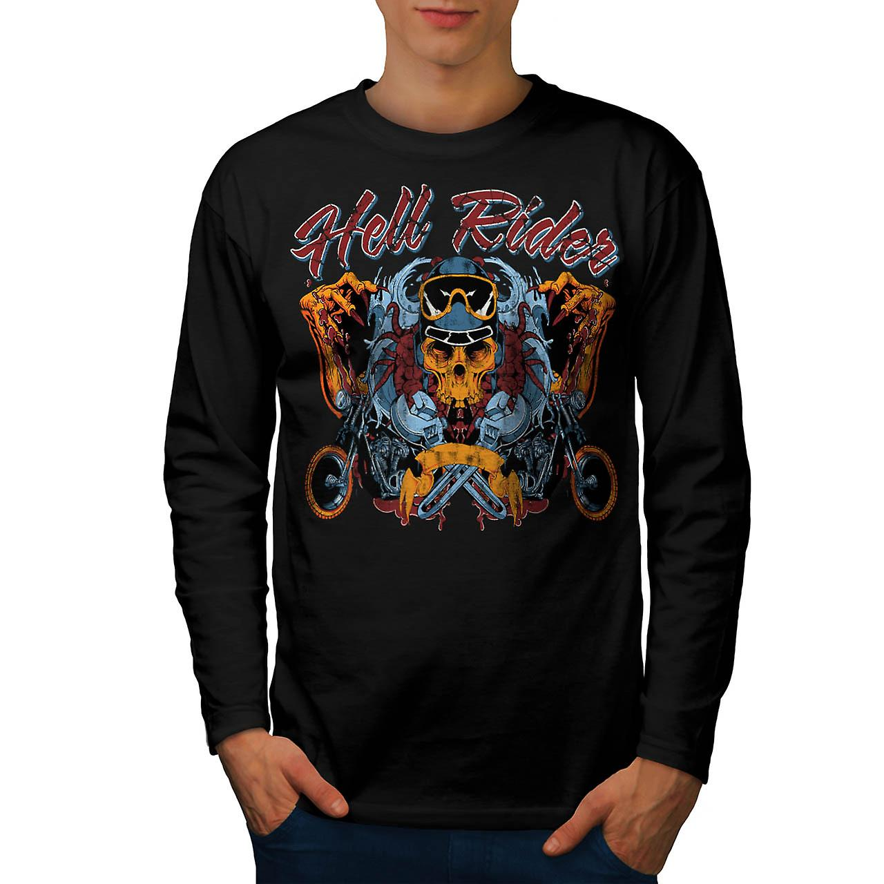 Hell Rider Chopper Biker Life Men Black Long Sleeve T-shirt | Wellcoda