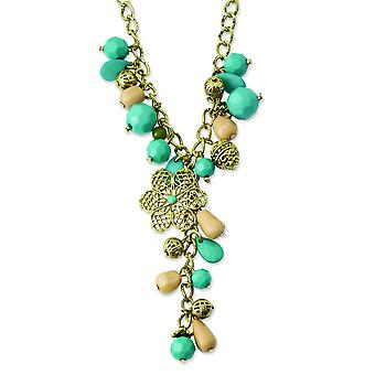 Gold-tone Teal Green and Cream Acrylic Beads 16inch With Ext Necklace