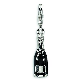 Sterling Silver Black Enameled Champagne Bottle With Lobster Clasp Charm - Measures 31x6mm