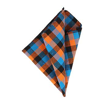 Mr. icone handkerchief Hanky Plaid dark blue light blue orange