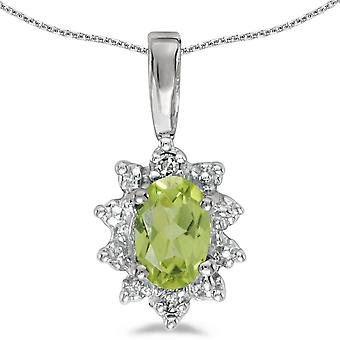 10k White Gold Oval Peridot And Diamond Pendant with 16