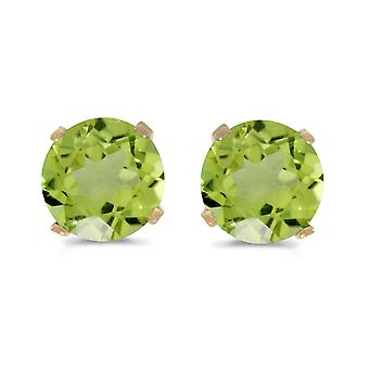 5 mm Natural Round Peridot Stud Earrings Set in 14k Yellow Gold