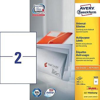 Avery-Zweckform 3655 Labels (A4) 210 x 148 mm Paper White 200 pc(s) Permanent All-purpose labels Inkjet, Laser, Copier