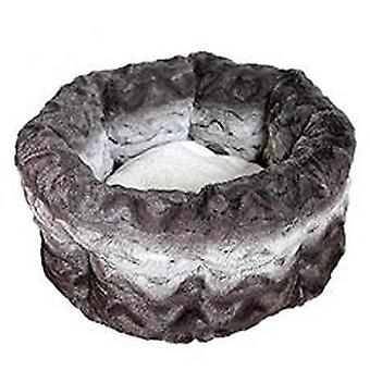 40 Winks Snuggle Bed Round Plush Grey & Cream 15