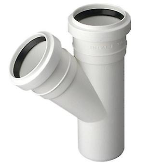 Avloppsvatten Tee Connector gemensamma 32 / 32mm röret Diameter 45deg monteringsvinkeln
