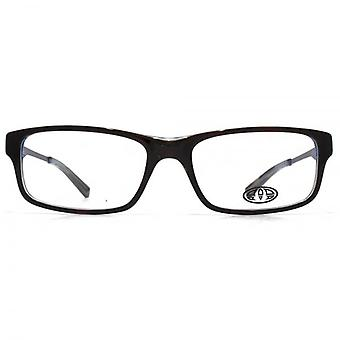 Animal Stokes Square Rectangle Acetate Glasses In Black On Blue