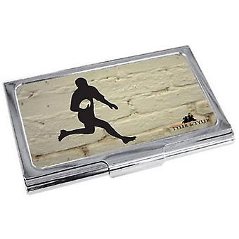 Tyler and Tyler White Brick Rugby Business Card Case - Cream/Black/Silver