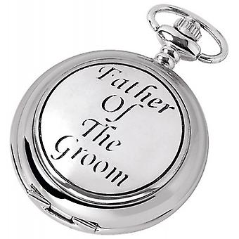 Woodford Father of the Groom Chrome Plated Full Hunter Quartz Pocket Watch - Silver