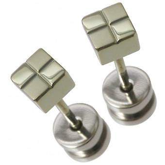 Ti2 Titanium Small Square Checked Stud Earrings - Green