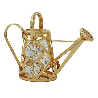 Dekokanne gold-plated watering can, with glass stones with a movable handle