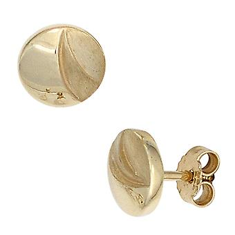 Around 333 gold yellow gold earrings boutons partially frosted gold earrings