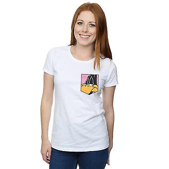 Looney Tunes kvinders Daffy Duck ansigt Faux lomme T-Shirt