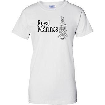 Con licenza MOD - Royal Marines Globe e Laurel - unità di Commando d'Elite - Ladies T Shirt