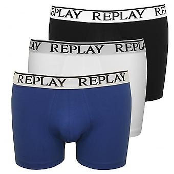 Replay 3-Pack Classic Logo Boxer Trunks, Black/White/Blue