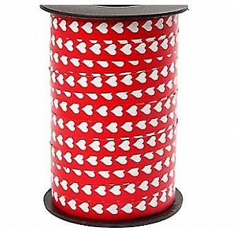 250m Red and White Heart 10mm Wide Curling Ribbon | Gift Wrap Supplies
