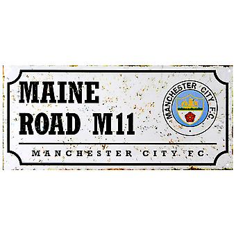 Manchester City FC Official Retro Football Crest Street Sign