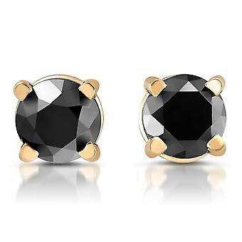 Amarillo oro 1 / 4ct ronda herretes de diamantes negro corte