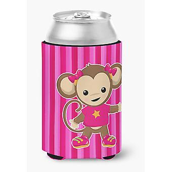 Carolines Treasures  BB7020CC Monkey on Pink Stripes Can or Bottle Hugger