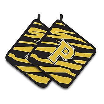Monogram Initial P Tiger Stripe - Black Gold Pair of Pot Holders