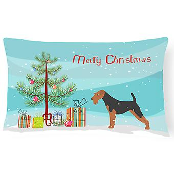 Airedale Terrier Merry Christmas Tree Canvas tyg dekorativa kudde