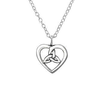 Keltische hart - 925 Sterling Zilver Plain-kettingen - W30869X