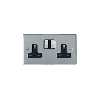Hamilton Litestat Hartland Brushed Satin Chrome Socket 2G 13A DP Switched SC/BL