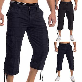 Men's Caprohose Cargohose 3/4 Pants of shorts short summer cotton cargo blue black