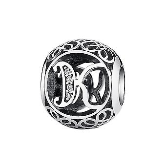 Sterling silver charm with zirconia stones letter K PSC008-K