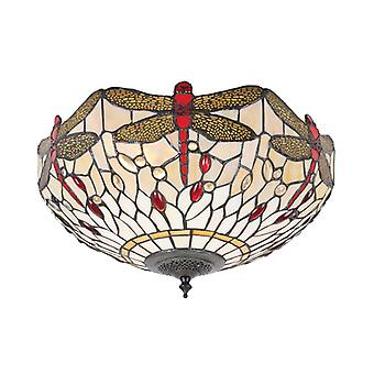 Dragonfly Medium Tiffany Style Beige Two Light Flush Ceiling Fixture - Interiors 1900 70723