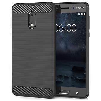 Nokia 6 Carbon Fibre Textured Gel Cover - Black