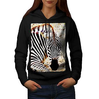 Zebra Safari Cute Animal mujeres BlackHoodie | Wellcoda