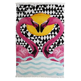 Flamingo Print Beach Towel