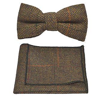 Lyxiga Dijon fiskbensmönster kontrollera fluga & Pocket Square Set, Tweed