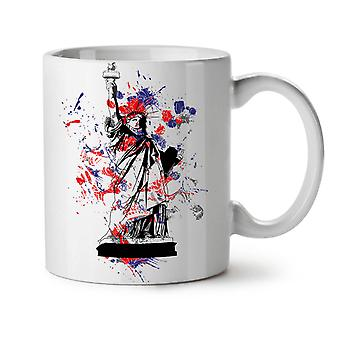 Statue Freedom New York NEW White Tea Coffee Ceramic Mug 11 oz | Wellcoda