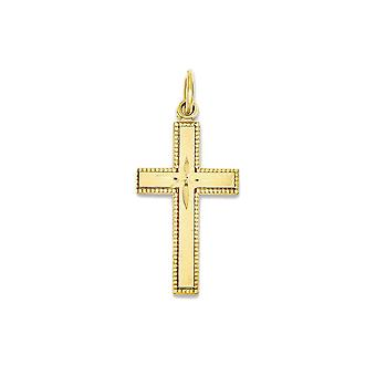 14k Yellow Gold Latin Cross Charm Pendant - 27mm