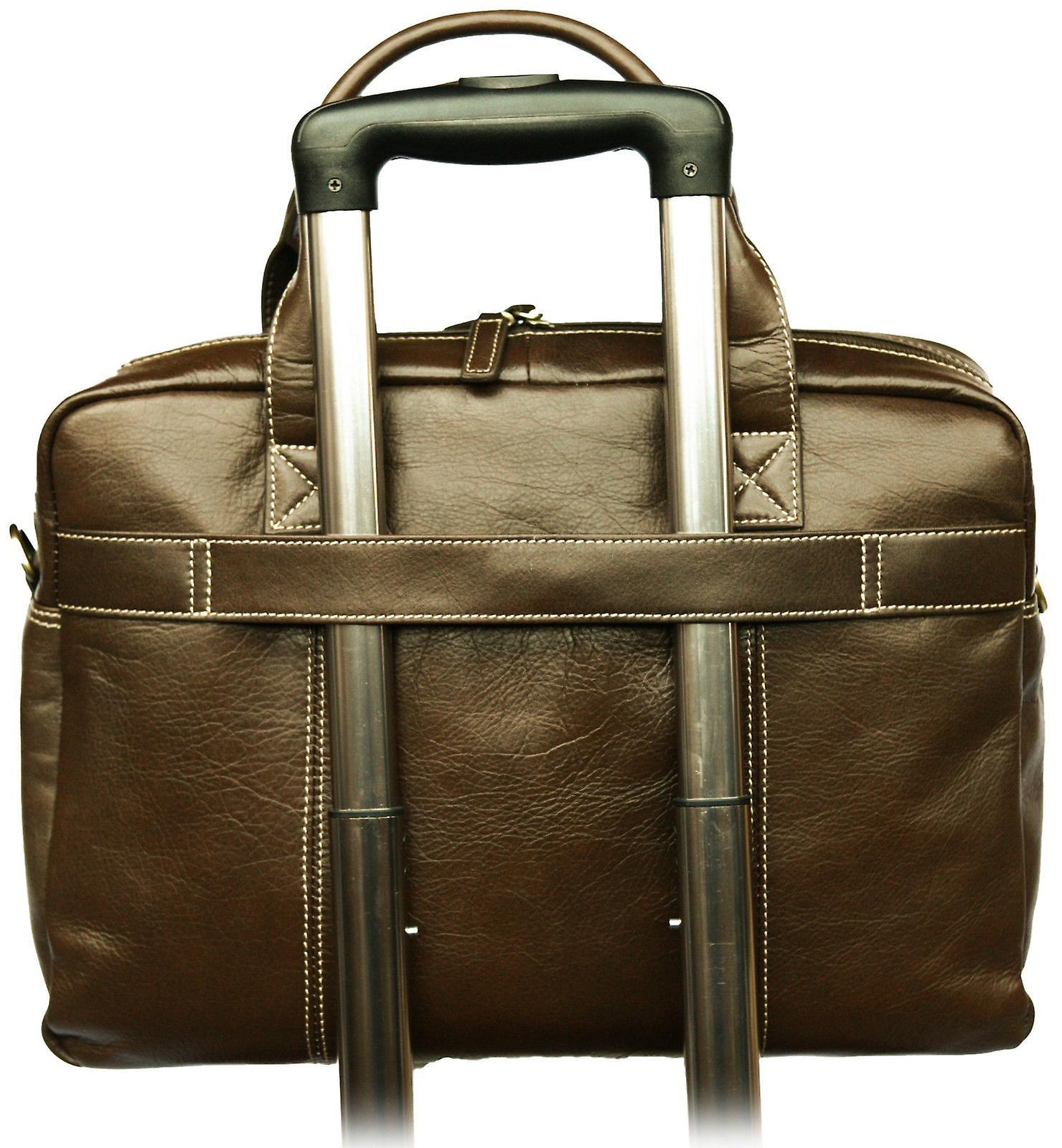 Leather Briefcase Business Laptop Bag Messenger Work Soft Shoulder Satchel