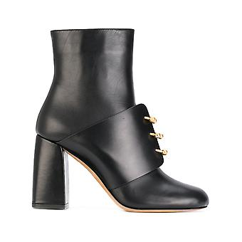 Red Valentino women's NQ0S0988VTB0NO black leather ankle boots