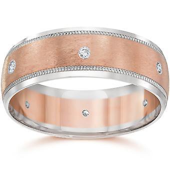 8MM Herren zwei Ton 14K Rose Gold Diamant Ehering