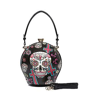 Day of the Dead Decorated Hard Shell Sugar Skull Handbag Large
