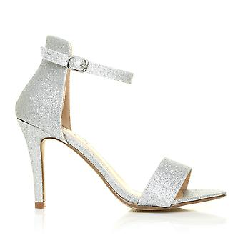 PAM Silver Glitter Ankle Strap Barely There High Heel Sandals