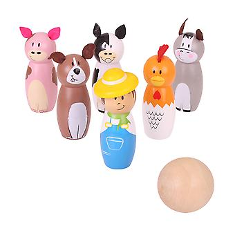 Bigjigs Toys Wooden Mini Farm Skittles Bowling Play Set Kid's Children