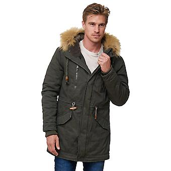 Mannen parka winter jas bont gevoerde capuchon warm een openbare