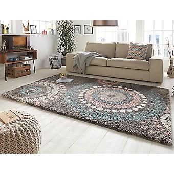 Design cut pile carpet deep pile globe gray