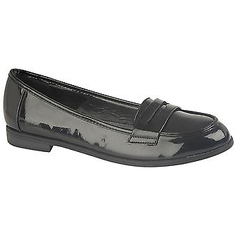Ladies Womens Hi Shine Patent Slip On Apron Saddle Casual Penny Loafer Shoes